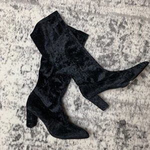 Blushe Black Velvet Stretch Boots